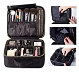 ROWNYEON Travel Makeup Bag Makeup Organizer Case Makeup Train Case Makeup Artist Bag Portable Cosmetic Bag Gift for Women with EVA Adjustable Dividers Small Black
