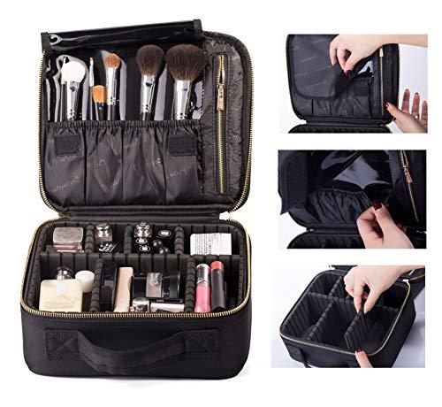 ROWNYEON Travel Makeup Bag Makeup Organizer Case Makeup Train Case Makeup Artist Bag Portable Cosmetic Bag Gift for Women with EVA Adjustable Dividers Small Black