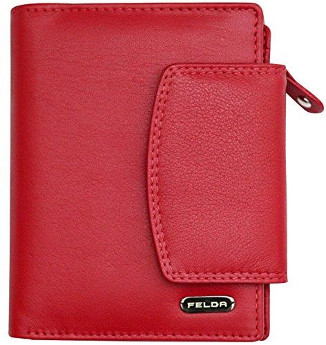 Felda - Damen Geldbörse aus Echtleder - Kartenfächer & Münzfach - RFID-Blocker - Mehrfarbig - Rot