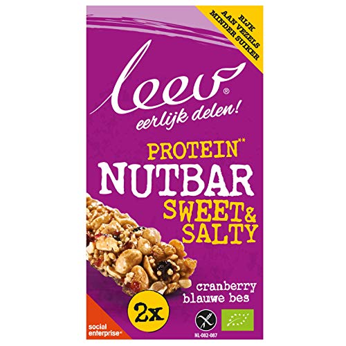 Leev 3627 Bio Nutbars Sweet & Salty Protein-Cranberry-Blueberry 80g (2x40g) - Multiset of 10 boxes