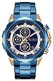CURREN Watch Men's Luxury Quartz Watch Men's Calendar Chronograph All Stainless Steel Waterproof Watch (Blue)