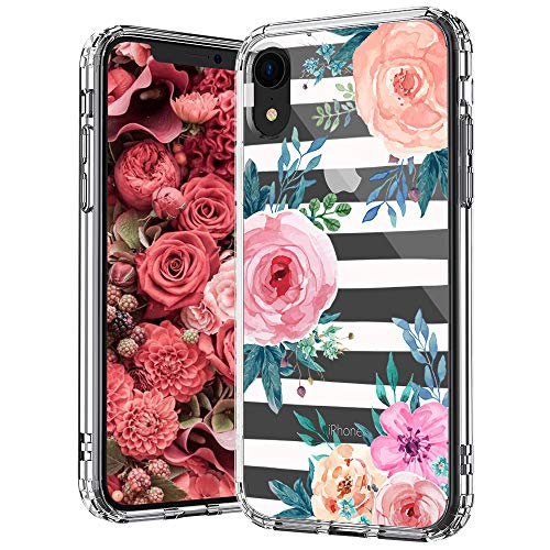 MOSNOVO Girls Blossom Stripes Floral Flower Pattern Designed for iPhone XR Case,Clear Case with Design Girls Women,TPU Bumper with Protective Hard Case Cover