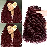 Burgundy Bundles 100% Unprocessed Curly Wave bundles Wet and Wavy Human Hair Weave 99j color Hair Extension(20 22 24 inches)