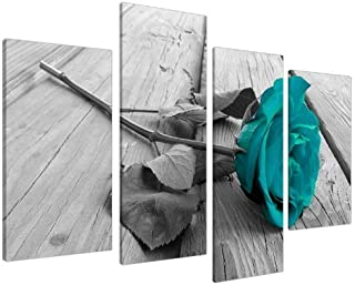 Large Black White Teal Rose Floral Canvas Wall Art Valentine's Day Pictures on Grey..