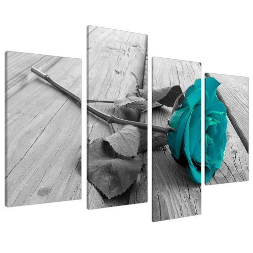 Large Black White Teal Rose Floral Canvas Wall Art Valentines Day Pictures on Grey Big Modern Flower Prints Multi Panel Turquoise Artwork Paintings Home Decoration Stretched and Framed Ready to Hang