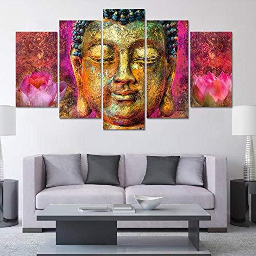 Speedcoming Pintura de Arte de Pared Moderno para Sala de Estar hogar Popular 5 Paneles Rosa Lotus Buda Imagen Impresa decoración Modular Obra de Arte Lienzo 30x40cm 30x60cm 30x80cm