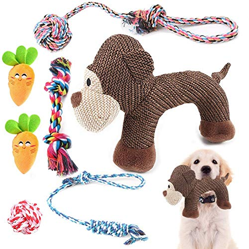 Puppy toy 7 juguete masticable de perro chillón de larga duración lavable felpa cachorros limpieza...