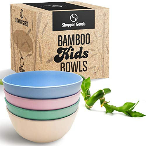 Shopper Goods Bamboo Bowls 4 Pack, Eco-Friendly Dinnerware Set, Bamboo Dinnerware, Bamboo Fiber Bowls for Healthy Dining