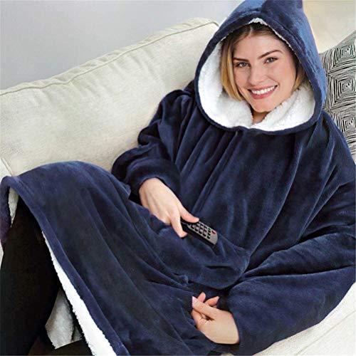 GFYWZZ Hoodie, Kapuzen Robe, Spa, Bademantel, Sweatshirt, Pullover, Decke für Herren, Damen |,Blau