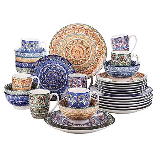 Vancasso Tafelservice Porzellan, Mandala 32 teiliges Essgeschirr Kombiservice, handbemaltes Geschirrset für 8 Personen, böhmischer Stil