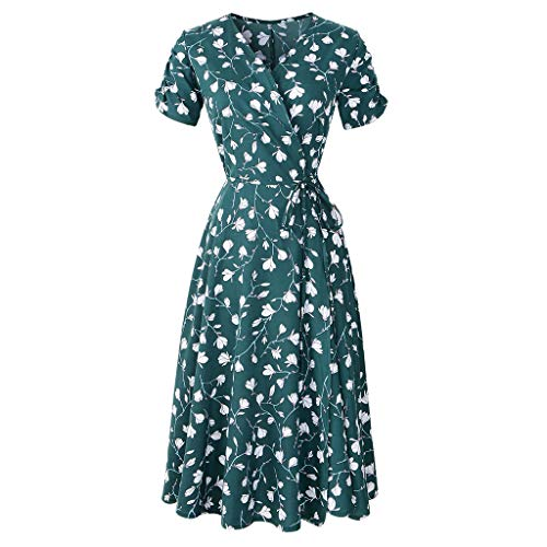 Womens 80s Floral Midi Dress, Spring Short Sleeve V Neck Belted Party Casual Soft Dresses Green