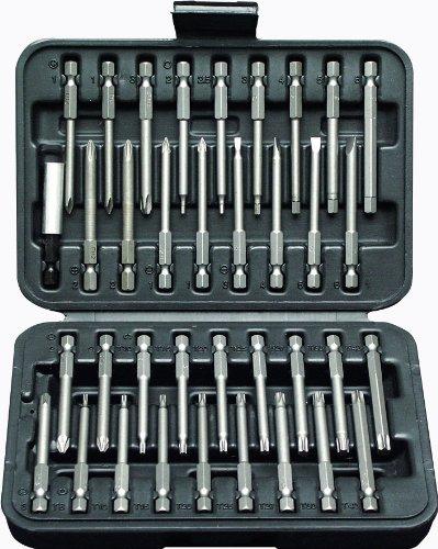Projahn 3788 bitbox 6,3 / 1/4 inch, verschillende bit-uitvoeringen, handbediende of voor elektrische schroevendraaiers (buiten-6-kant) , chroom-vanadium-staal bits zink-gefosfateerd, extra lang 75 mm, 36-delig.