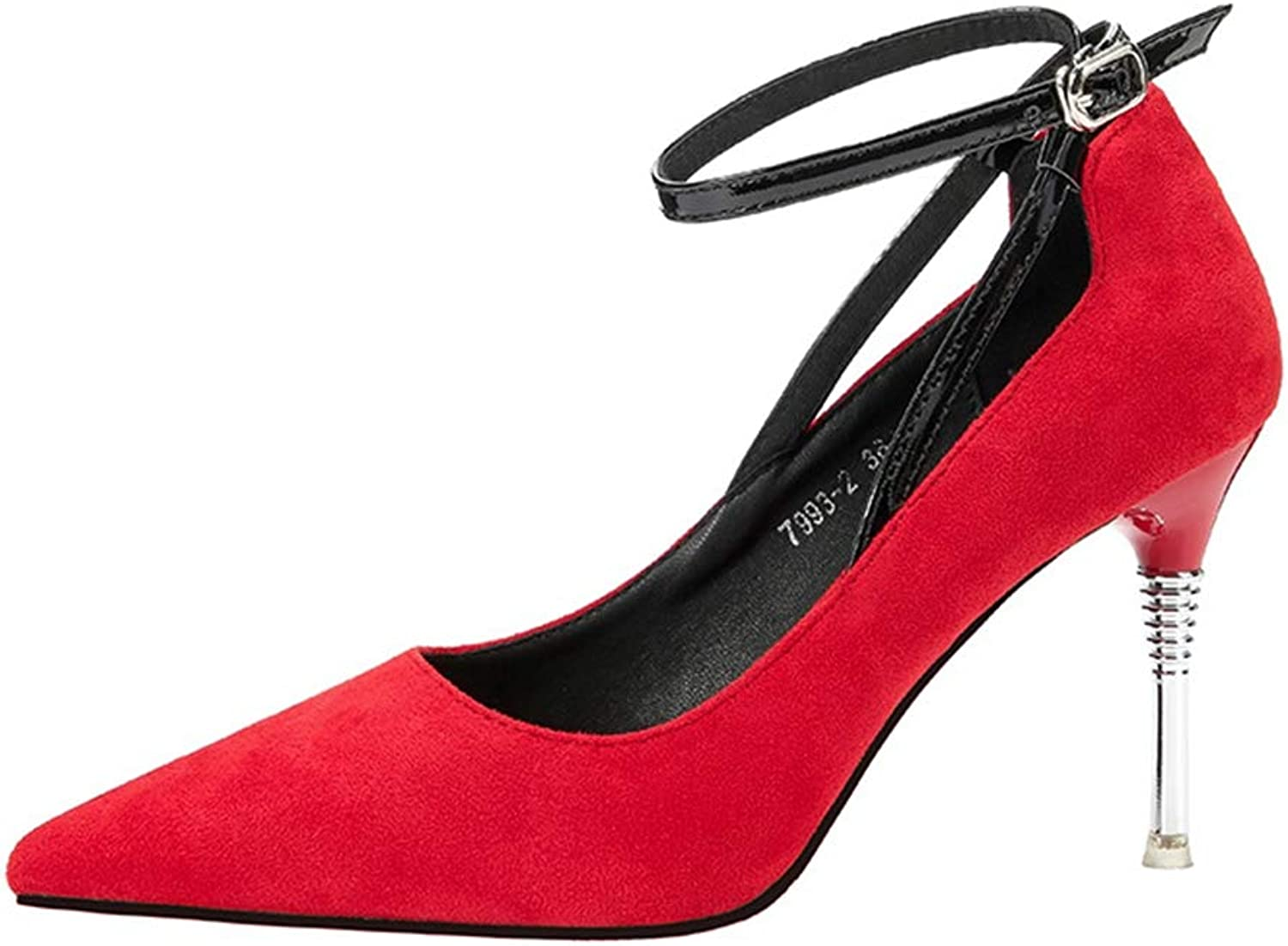 Drew Toby Women Pumps Fashion Pointed Toe Shallow Suede Ankle Strap Elegant High Heels