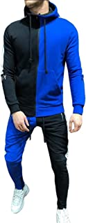 Mens Zipper Patchwork Hoodie Sweatshirt Top Pants Sets Tracksuit Jogging Sweatsuit Activewear