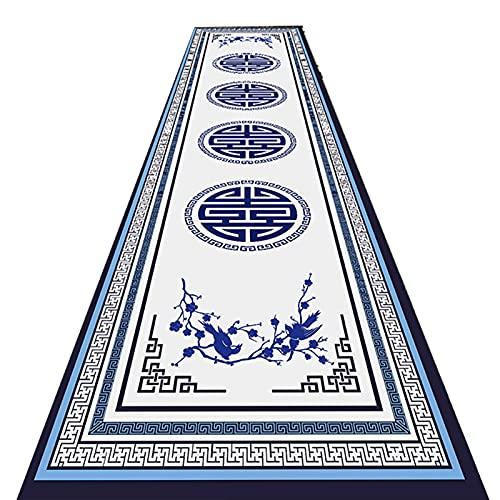 YYQIANG Tapis de runneur de couloirs bordés Bleus et Blancs, de Style Chinois intérieur/Porche Non glissé de la Zone Non glissée, idéal pour Le Hall d'entrée de l'entrée Tapis de Cuisine, Une variét