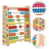 Sunshine smile Abakus,Holz Rechenschieber,Holzspielzeug Baby,Montessori Spielzeug,Mathematik mit 100...