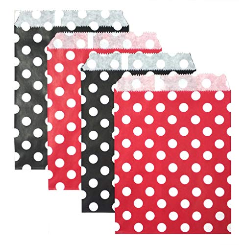 KIYOOMY 100 Pcs Candy Buffet Bags Small Polka Dot Paper Treat Bags (Red and Black, 5 inch X 7 inch)