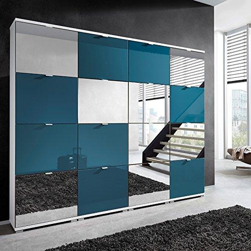 Lomado Zapatero XXL en Color Azul petróleo Brillante con Espejo. 16 Puertas con cestas de Zapatos. Ancho x Alto x Profundo: Aprox. 212 x 174 x 30 cm. Fabricado en Alemania.