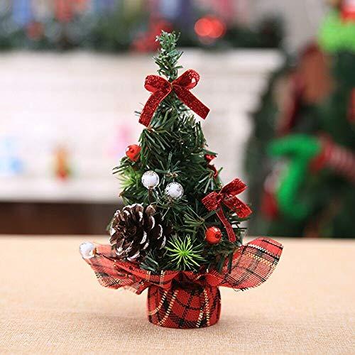 Sapin de Noël Miniature Noël Déco Interieux,Sapin de Noel Mini Arbre de Noël Artificiel Miniature Decoration Table Ornements Christmas (Rouge, 20CM)