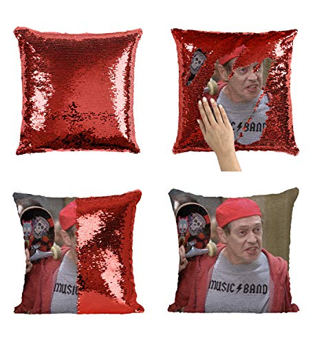 Steve Buscemi Poppins Swag Skateboard_MA0869 Pillow Cover Sequin Mermaid Flip Reversible Kissen Meme Emoji Actor Girls Boys Couch Office Sofa (Cover Only)