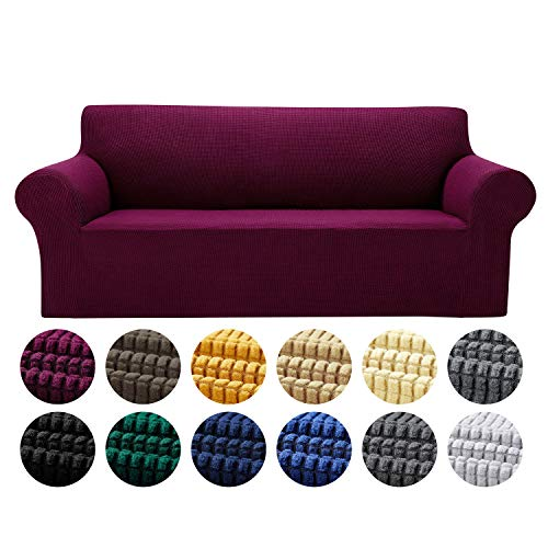 Yucoao Stretch Sofa Slipcovers Couch Covers(77''-85''), 1PC Spandex Sofa Cover Lattice Jacquard Furniture Cover, Washable Furniture Protector for Living Room, Children and Pets, Wine