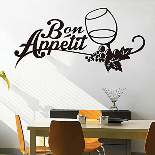 Cocina francesa vinilo pegatinas de pared calcomanías murales arte copa de vino papel tapiz cocina tatuajes de pared decoración del hogar A9 33x60cm