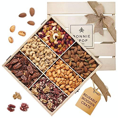 Nut Gift Basket, in reusable Wooden Crate, Healthy Gift Option, Gourmet Snack Food Box, with unique flavors, Great for Easter, Father's Day, Feel Better, Sympathy & Birthday - Bonnie & Pop