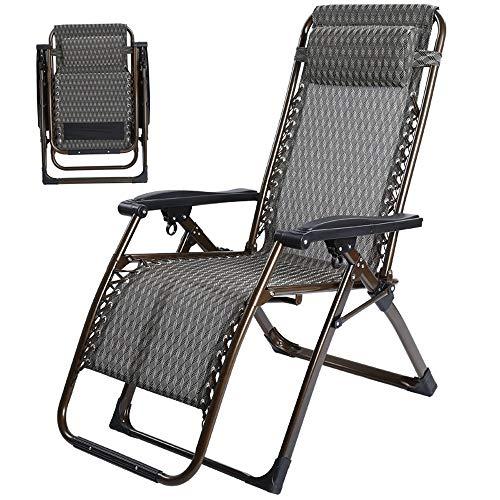 YLCJ Dikke chaise longue in roestvrij staal | Verstelbare klapstoel | Lounge stoel ligstoel eettafel | Campingseizoen beschikbaar 180x78x68 cm A ++