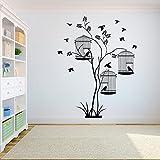 Árbol de la vida gorrión volador pájaros en ramas de árboles jaula de pájaros vinilo adhesivo de pared calcomanía artística dormitorio sala de estar Studio Club decoración del hogar Mural