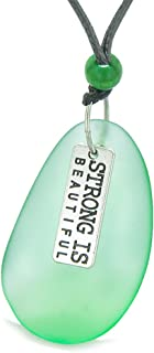 Large Sea Glass Inspirational Strong is Beautiful Amulet Water Drop Pendant Necklace