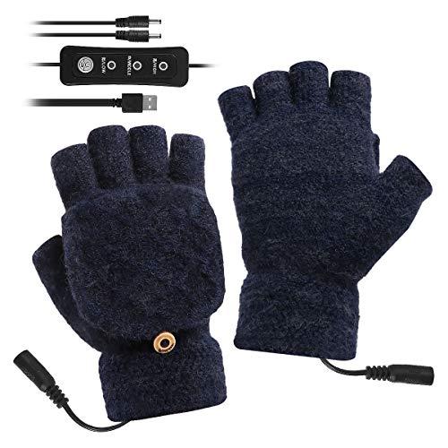 Guanti riscaldati con USB, unisex, temperatura regolabile, invernali, completi e mezze dita, guanti per computer portatile, per donne, uomini, ragazze e ragazzi