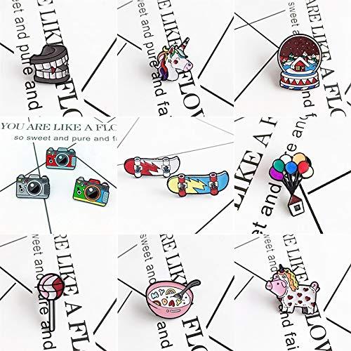 ZSCZQ Dibujos Animados Lindo Dientes de Vampiro Color Unicornio Broche Color Globo Casa Patineta Lollipop Pin Pin Joyería de Moda Encantadora Regalo Estilo para niños