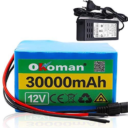 Paquete de batería de litio de 12V 30Ah 3S12P para inversor Lámpara de xenón Luz de calle solar Coche de turismo Etc + cargador