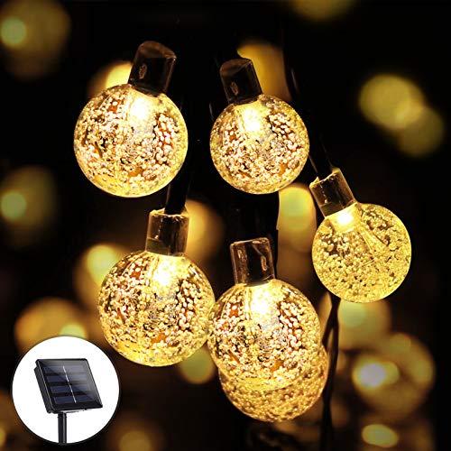 Catena Luminosa Solare Esterno, KNMY 100 LED 12M Luce Stringa solari Lucine LED Decorative di Cristallo Globo Impermeabile IP66 Catena Luminosa per Natale, Giardino, Festa