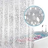 WELTRXE Duschvorhang Wasserdicht EVA Badezimmer Vorhang Liner 3D Effekt Clear Pebble Heavy Duty Duschvorhang mit 3 Magneten, schimmelfest Badvorhänge mit 12 Haken, 183 x 200 cm
