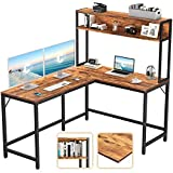 CubiCubi L-Shaped Desk with Hutch,59' Corner Computer Desk,Home Office Gaming Table Workstation with Storage Bookshelf,Rustic Brown