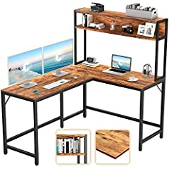 【MODERN DESIGN STYLE】Cubicubi L Shaped Desk with Bookshelf anchors your home office in style, as fashionable as it is functional. This L desk is crafted of metal frame and high-grade MDF in a classic L-shaped silhouette. 【SPACIOUS WORK AREA】This 59.1...