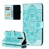 COTDINFOR Etui für Nokia 3.2 Hülle PU Leder Cover Schutzhülle Magnet Tasche Flip Handytasche im Bookstyle Stand Kartenfächer Lederhülle für Nokia 3.2 Green Mandala LD.