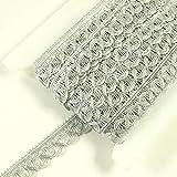 Stoffe Werning Silberborte 2,5 cm Wellen Brokatborte Borte