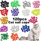 VICTHY 120pcs Cat Nail Caps, Colorful Pet Cat Soft Claws Nail Covers for Cat Claws with Adhesive and Applicatorsm Extra Small