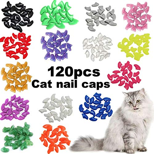 VICTHY 120pcs Cat Nail Caps, Colorful Pet Cat Soft Claws Nail Covers for Cat Claws with Adhesive and...