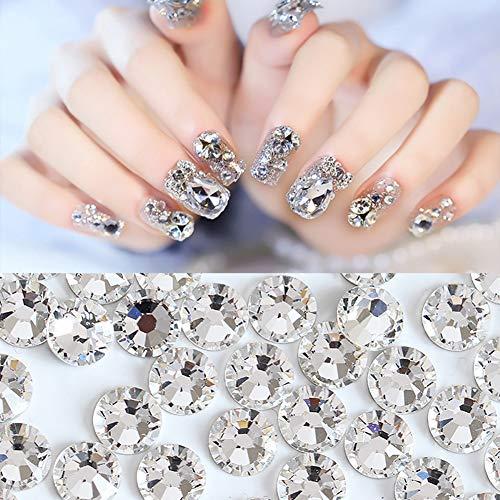 funie Nail Art Rhinestone Kit de Uñas Diamantes de Imitación de Moda Mini Brillante Diamantes de Imitación de Uñas de Arte Consejos Decoración Manicura Pedicura DIY Herramienta Blanco Ss34