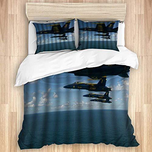 Bettbezug, offizielle Bilder der US-Marine Das Manöver der Blauen Engel über Pensacola Beach, hochwertiges Bettwäscheset mit 1 Beilagenbezug und 2 Kissenbezügen