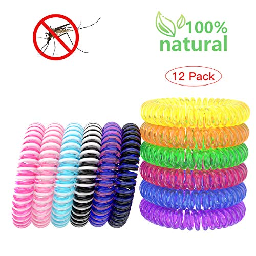 Mosquito Repellent Bracelets, DEET Free Insect Repellent Bands Waterproof Portable Natural Wristbands for Kids and Adults, Bite Free Protection Up to 250 Hours (12 Pack)