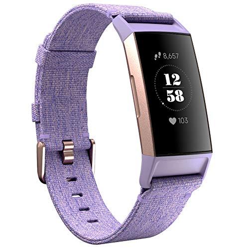 KIMILAR Braccialetto Compatibile con Fitbit Charge 3 / Charge 4 Cinturini Tessuto, Sgancio Rapido Morbido Sostituzione Stoffa Nylon Braccialetto Cinturini per Charge 4 / Charge 3 / SE, Lavanda