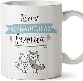 MUGFFINS Taza San Valentín (Te quiero) - Eres mi casualidad favorita búhos - Regalos Originales y Divertidos de Aniversario para Novios, Enamorados, Pareja.