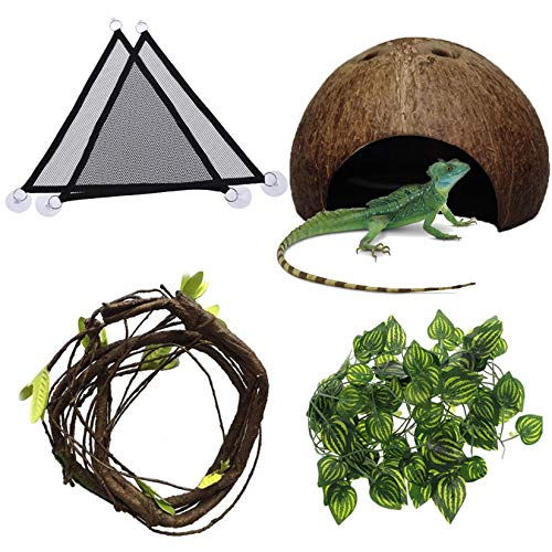 Hamiledyi Bearded Dragon Tank Accessories Lizard Hammock Reptile Coconut Shell Flexible Reptile Leaves with Suction Cups Reptile Tank Habitat Decor for Gecko,Snakes,Chameleon