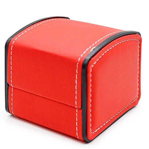 AVESON Uhrenbox, Organizer, PU-Leder, für Reisen, Schmuck, Armband, Geschenk, Einzelgitter, Rot