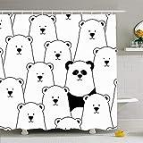 Hotyle Duschvorhang Set mit Haken 120X180Cm Eiserbsen Muster White Point Zoo Polar Schwarz Schnee Winter Bären Tiere Wildlife Natur Flauschiger Bär
