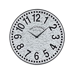 AR Lighting West Silver Wall Clock in Galvanized Steel